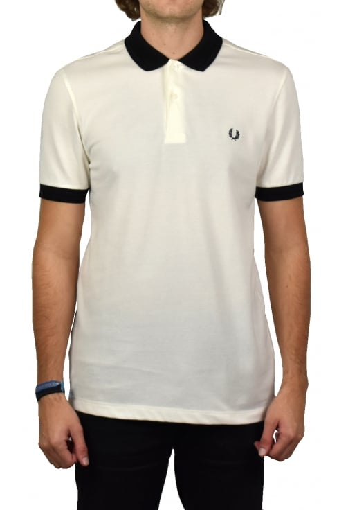 Fred Perry Matt Tipped Collar Pique Polo Shirt (Snow White)