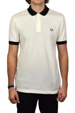Matt Tipped Collar Pique Polo Shirt (Snow White)