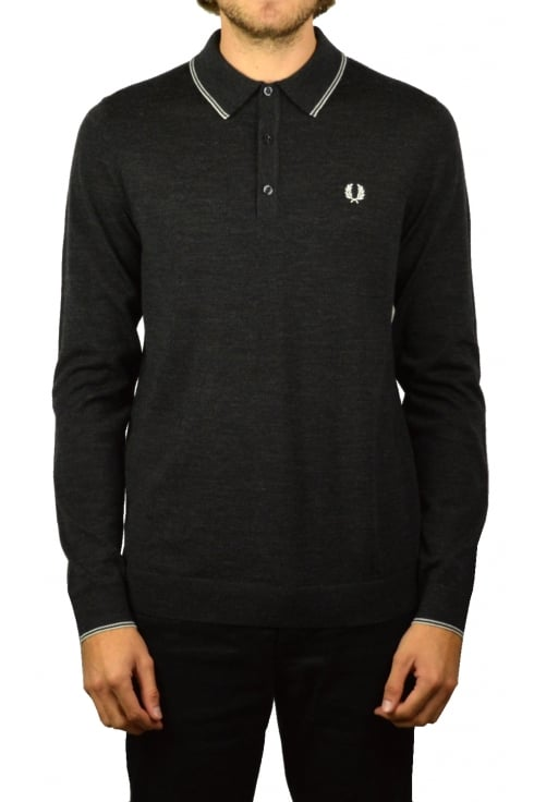 Fred Perry Merino Knitted Long-Sleeved Polo Shirt (Charcoal Marl)