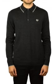 Merino Knitted Long-Sleeved Polo Shirt (Charcoal Marl)