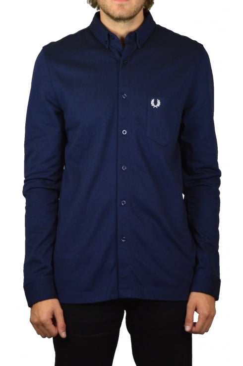 Fred Perry Oxford Pique Long-Sleeved Shirt (Medieval Blue)