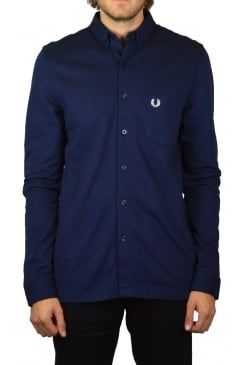 Oxford Pique Long-Sleeved Shirt (Medieval Blue)