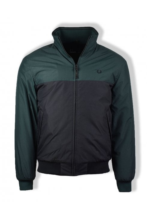 Fred Perry Panelled Quilted Brentham Jacket (Dark Emerald)