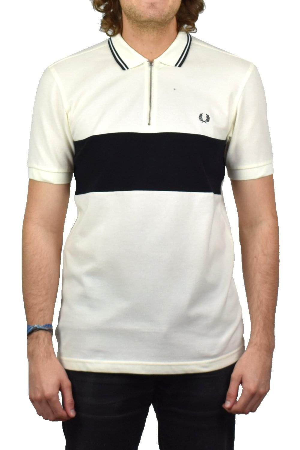 7ef6643b0 Fred Perry Panelled Zip Neck Pique Polo Shirt (Light Ecru)