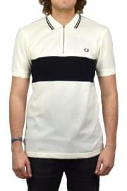Panelled Zip Neck Pique Polo Shirt (Light Ecru)