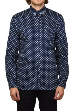 Polka Dot Long-Sleeved Shirt (Medieval Blue)