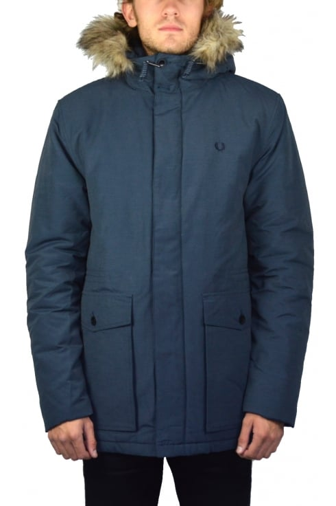 Fred Perry Quilted Fur Trim Parka (Dark Airforce)