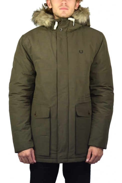 Fred Perry Quilted Fur Trim Parka (Wren)