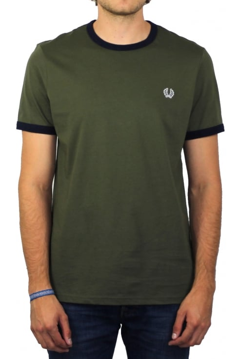 Fred Perry Ringer Short-Sleeved T-Shirt (Iris Leaf)