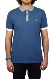 Stripe Collar Pique Polo Shirt (Washed Dusk)