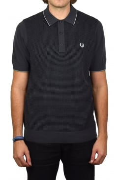 Texture Knitted Polo Shirt (Charcoal)