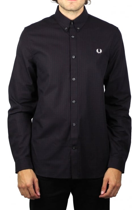 Fred Perry Three-Colour Basket Weave Long-Sleeved Shirt (Mahogany)