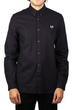 Three-Colour Basket Weave Long-Sleeved Shirt (Mahogany)