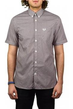 Three Colour Short-Sleeved Gingham Shirt (Dark Carbon)