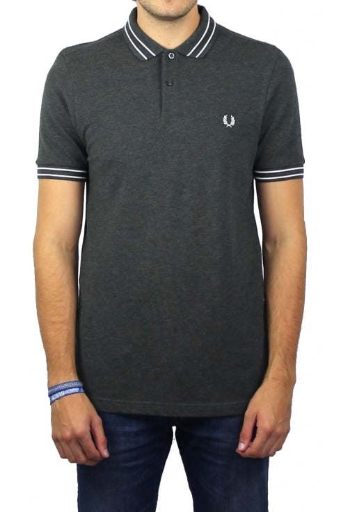 Fred Perry Tramline Tipped Polo Shirt (Graphite Marl)