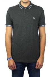 Tramline Tipped Polo Shirt (Graphite Marl)