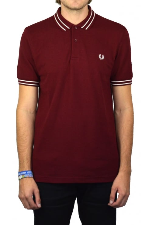 Fred Perry Tramline Tipped Polo Shirt (Rosewood)