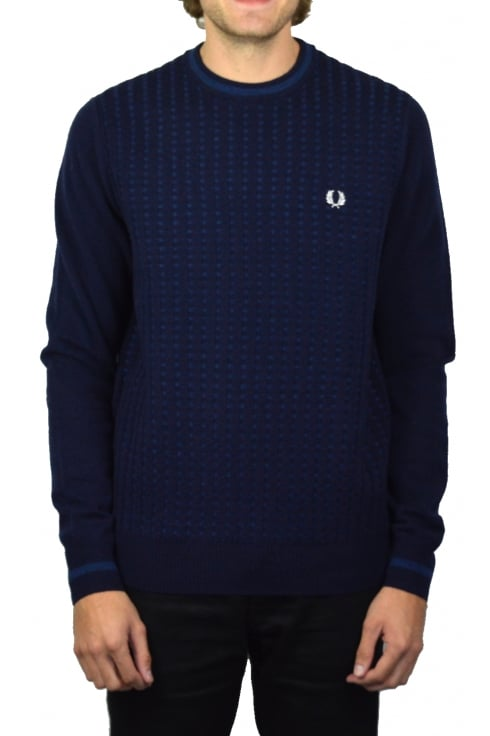 Fred Perry Waffle Knit Jumper (Navy)