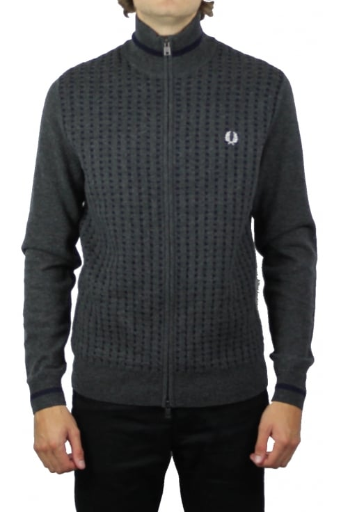 Fred Perry Waffle Knit Zip Through Cardigan (Graphite Marl)