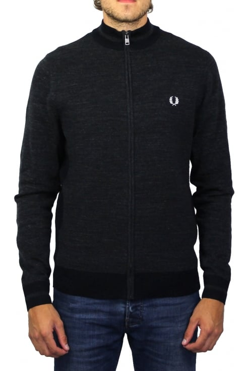 Fred Perry Zip-Through Knitted Cardigan (Blue Granite)