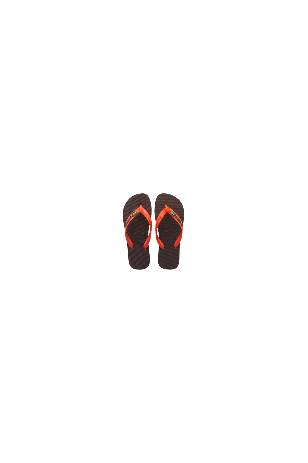 a7d16cb5bc79 Havaianas Brasil Logo Flip Flops (Dark Brown Orange) - Footwear from ...
