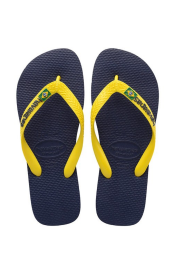 Brasil Logo Flip Flops (Navy Blue/Citrus Yellow)