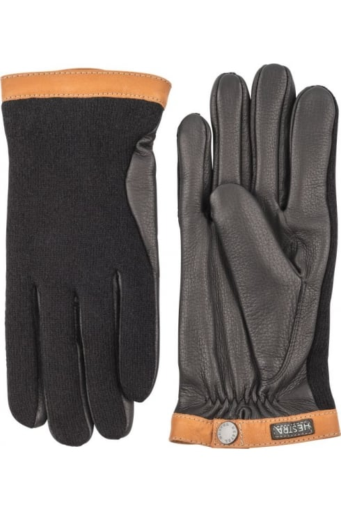 Hestra Gloves Deerskin Wool Tricot Gloves (Black/Black)