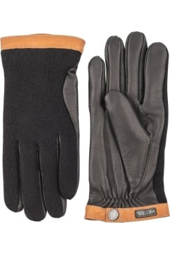 Deerskin Wool Tricot Gloves (Black/Black)