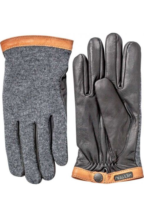 Hestra Gloves Deerskin Wool Tricot Gloves (Charcoal/Black)