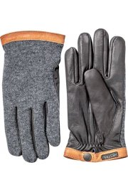 Deerskin Wool Tricot Gloves (Charcoal/Black)