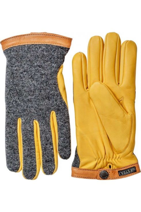 Hestra Gloves Deerskin Wool Tricot Gloves (Charcoal/Natural Yellow)