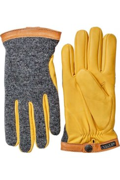 Deerskin Wool Tricot Gloves (Charcoal/Natural Yellow)