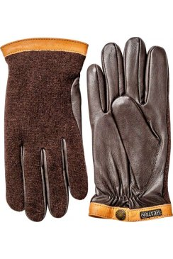 Deerskin Wool Tricot Gloves (Espresso/Dark Brown)