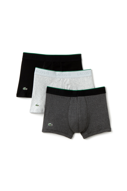 Lacoste 3-Pack Boxer Trunks (Grey/Dark Grey/Black)