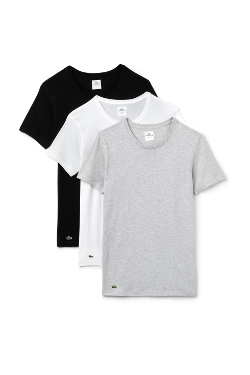 Lacoste Classic 3-Pack Short-Sleeved T-Shirt (Black/Grey/White)