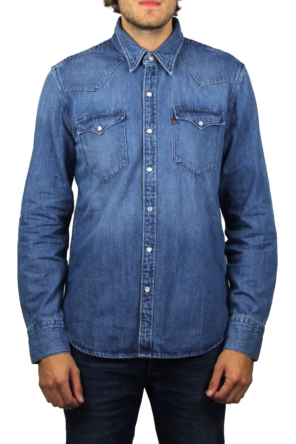 c6ff42cfc0 Barstow Western Denim Long-Sleeved Shirt (Acid Indigo)