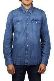Barstow Western Denim Long-Sleeved Shirt (Acid Indigo)