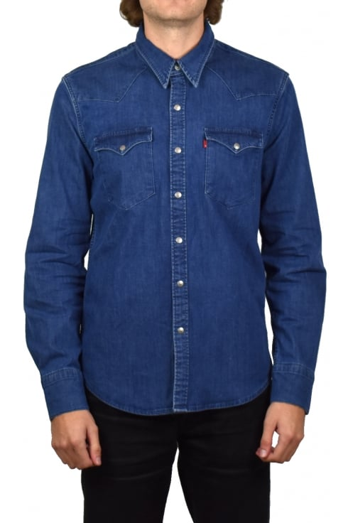 Levi's Barstow Western Denim Long-Sleeved Shirt (Brooklyn Stretch Mid)