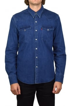 Barstow Western Denim Long-Sleeved Shirt (Brooklyn Stretch Mid)