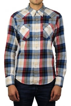 Barstow Western Long-Sleeved Shirt (Cherry Bomb Plaid)
