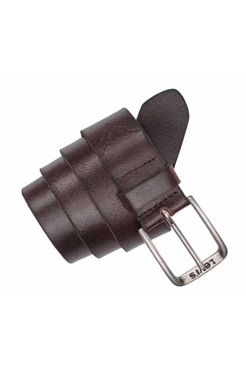 Levi's Classic Logo Buckle Leather Belt (Dark Brown)