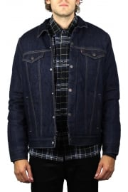 Down Fill Styled Denim Trucker Jacket (Indigo DWR)