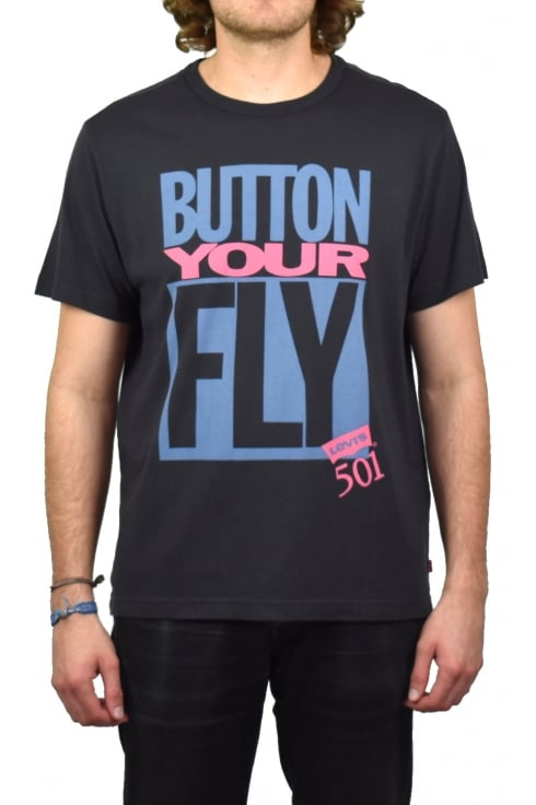 Levi's Graphic Short-Sleeved T-Shirt (Button Your Fly - Black)