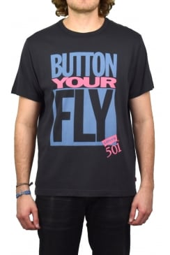 Graphic Short-Sleeved T-Shirt (Button Your Fly - Black)