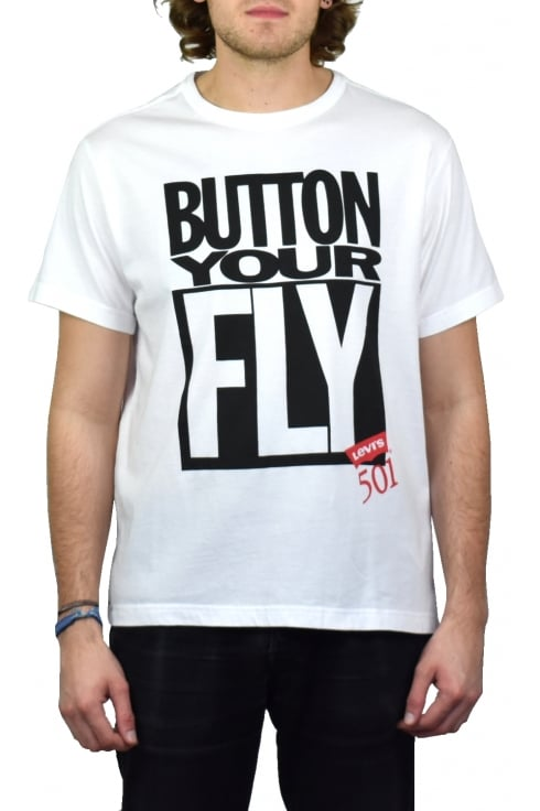 Levi's Graphic Short-Sleeved T-Shirt (Button Your Fly - White)
