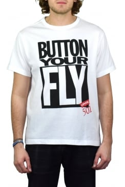 Graphic Short-Sleeved T-Shirt (Button Your Fly - White)