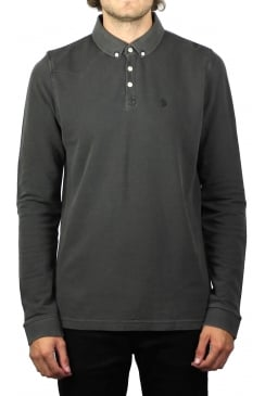 Long Basking Long-Sleeved Polo Shirt (Charcoal)