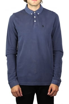 Long Basking Long-Sleeved Polo Shirt (Dark Navy)