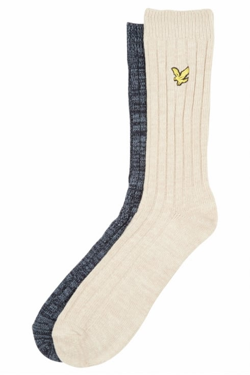 Lyle & Scott 2 Pack Mouline Socks (Dark Navy/Light Stone)