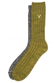 2 Pack Mouline Socks (True Black/Bay Green)
